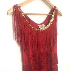 California Costumes 1920s Red Fringe Dress